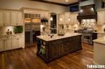 Tủ bếp gỗ tự nhiên hình chữ U sơn men trắng có đảo – TBB0960