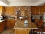 Tủ bếp gỗ Tần Bì (Ash) tự nhiên chữ U có đảo – TBB0856
