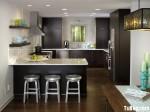 Tủ bếp gỗ Laminate hình chữ L màu đen mờ có đảo TBT0560