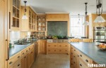 Tủ bếp gỗ Sồi tự nhiên hình chữ L có đảo – TBB1034