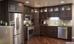 Tủ bếp gỗ tự nhiên Sồi sơn men,chữ L – TBB 1095