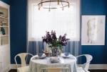 Căn bếp ấm cúng với hai tông màu xanh – trắng