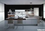 Tủ bếp gỗ Acrylic màu trắng phối vân gỗ chữ L – TBB1038