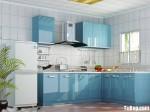 Tủ bếp acrylic màu xanh da trời, chữ L – TBB 1118