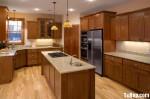 Tủ bếp gỗ Sồi tự nhiên hình chữ L có đảo TBT0623