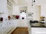Tủ bếp gỗ Xoan đào sơn men trắng, chữ L -TBB 1101