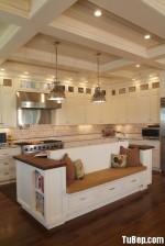 Tủ bếp gỗ Sồi Mỹ sơn men trắng, chữ L – TBB 1068