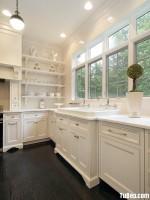 Tủ bếp gỗ Sồi sơn men trắng chữ L – TBB 1191