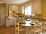 Tủ bếp gỗ Xoan đào sơn men trắng chữ U – TBB 1170