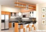 Tủ bếp gỗ Laminate chữ L màu trắng phối vân gỗ – TBB 1192