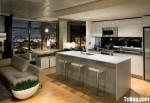Tủ bếp gỗ Acrylic màu trắng hình chữ I có đảo – TBB 1210