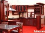 Tủ bếp gỗ căm xe chữ U có bar – TBB 1205