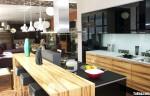 Tủ bếp laminate vân gỗ kết hợp acrylic đen, chữ I có bàn đảo – TBB 1154