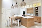 Tủ bếp gỗ Tần Bì có đảo – TBB 1240