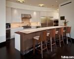 Tủ bếp gỗ Acrylic trắng phối Laminate vân gỗ hình chữ I TBT0758