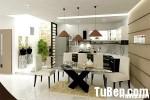 Tủ bếp gỗ Laminate chữ L màu trắng phối đen – TBB 1257