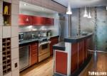 Tủ bếp acrylic màu đỏ cam, chữ I, có bar – TBB 1308