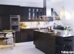 Tủ bếp gỗ Xoan Đào sơn men đen hình chữ I có đảo TBT0723