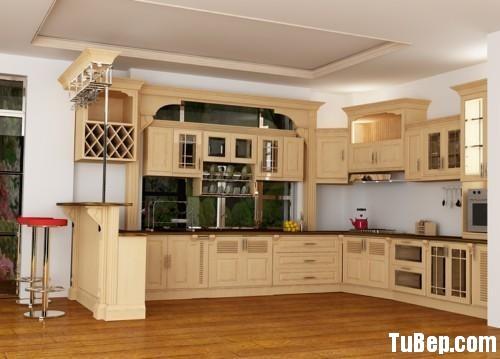 Gỗ Tự nhiên 10.12 Tủ bếp gỗ tự nhiên sơn men màu trắng kem chữ L có quầy bar   TBB 1197