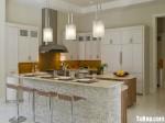 Tủ bếp gỗ Xoan Đào sơn men trắng hình chữ L có đảo TBT0917