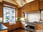Tủ bếp gỗ Sồi tự nhiên hình chữ U TBT0952