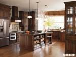 Tủ bếp gỗ Xoan Đào màu nâu hình chữ I có đảo TBT0974