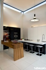 Tủ bếp Acrylic thiết kế đơn giản có đảo – TBN2116