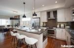 Tủ bếp gỗ Acrylic màu trắng hình chữ L có đảo TBT1060