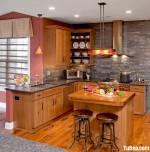 Tủ bếp gỗ tự nhiên chữ L có đảo – TBB 1513