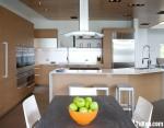 Tủ bếp gỗ Laminate màu vân gỗ hình chữ I có đảo TBT1019