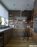 Tủ bếp Veneer gỗ mật chữ U cho nhà vườn – TBN2406