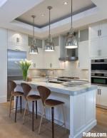 Tủ bếp gỗ tự nhiên sơn men trắng – TBB 1673