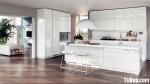 Tủ bếp Acrylic màu trắng bóng gương có đảo – TBN2678