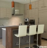 Tủ bếp gỗ Laminate màu xám kết hợp vân gỗ chữ L có bàn đảo và hệ tủ khô – TBT1253