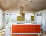 Tủ bếp gỗ công nghiệp Acrylic màu cam dạng chữ I song song – TBB 1870
