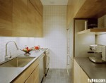 Tủ bếp gỗ công nghiệp Laminate vân gỗ dạng chữ I song song – TBB 1857
