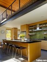Tủ bếp gỗ Laminate màu vân gỗ chữ I có bàn đảo và hệ khung tủ lạnh – TBT1371