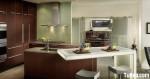 Tủ bếp Melamine chữ L có đảo giản dị – TBN3351