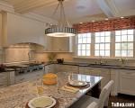Tủ bếp gỗ Xoan Đào sơn men trắng chữ L có bàn đảo – TBT1390