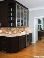 Tủ bếp Sồi sơn men nâu trầm trang nghiêm tinh tế – TBN3316