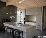Tủ bếp Melamine chữ I có đảo phong cách nhât bản – TBN3548