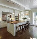 Tủ bếp gỗ Sồi sơn men trắng phong cách bán cổ điển có kết hợp bàn bar – TBB 2060