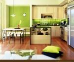 Bếp mát rượi với gam màu xanh lá