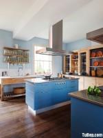 Tủ bếp tần bì chữ tươi trẻ với gam màu xanh dương tinh tế – TBN3792
