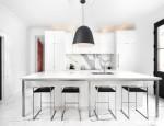 Tủ bếp gỗ công nghiệp Acrylic trắng bóng gương dạng chữ I có bàn đảo – TBB 2239