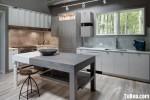 Tủ bếp gỗ công nghiệp phong cách hiện đại màu trắng sữa – TBB 2173