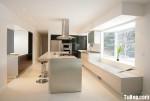 Tủ bếp gỗ Acrylic màu trắng kết hợp đen chữ L có bếp đảo và hệ khung tủ lạnh – TBT1820