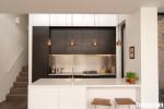 tủ bếp gỗ công nghiệp Laminate màu nâu kết hợp với màu trắng – TBB 2298