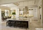 Tủ bếp gỗ tự nhiên sơn  men trắng có bàn đảo hệ khung bao lò nướng lò vi sóng – TBB 2356