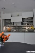 Tủ bếp Melamine tông trắng hiện đại nhỏ xinh – TBN4374
